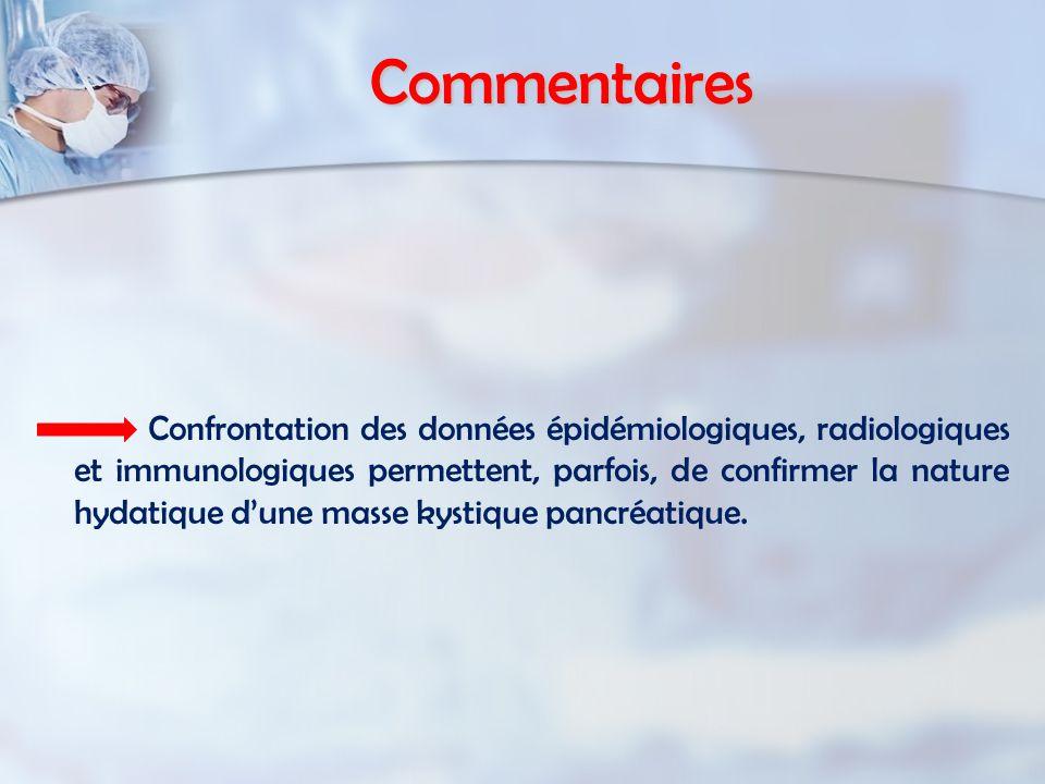 Commentaires Confrontation des données épidémiologiques, radiologiques et immunologiques permettent, parfois, de confirmer la nature hydatique dune masse kystique pancréatique.