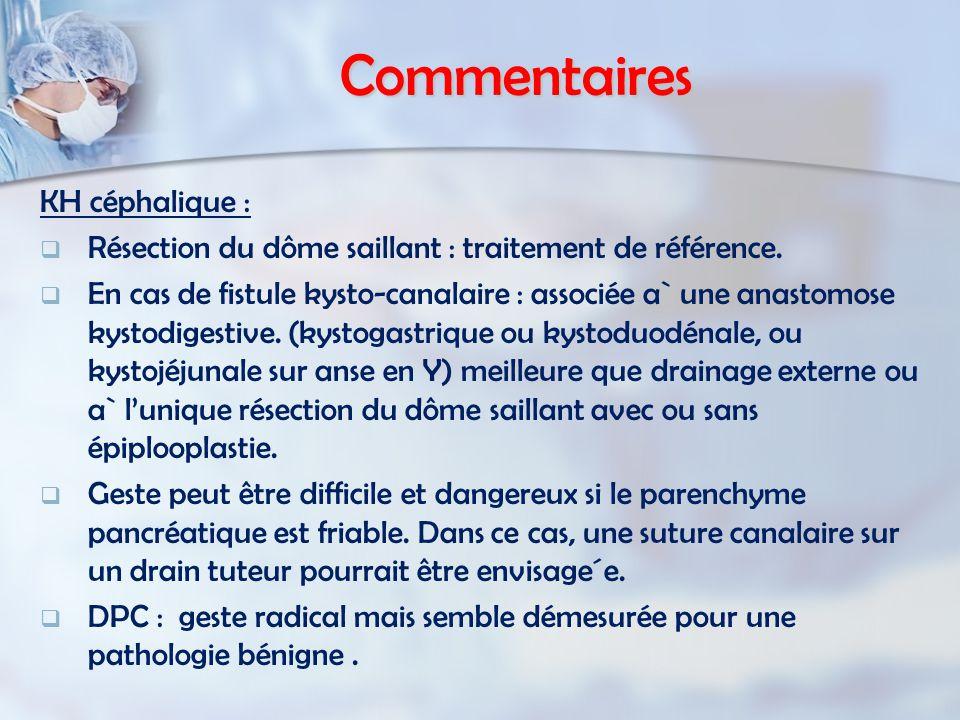Commentaires KH céphalique : Résection du dôme saillant : traitement de référence.