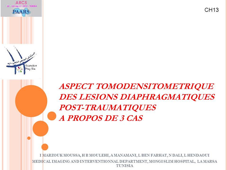 ASPECT TOMODENSITOMETRIQUE DES LESIONS DIAPHRAGMATIQUES POST-TRAUMATIQUES A PROPOS DE 3 CAS I MARZOUK MOUSSA, H R MOULEHI, A MANAMANI, L BEN FARHAT, N
