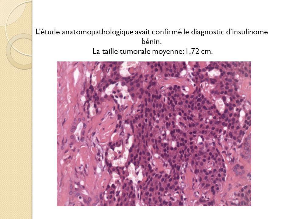 Létude anatomopathologique avait confirmé le diagnostic dinsulinome bénin.