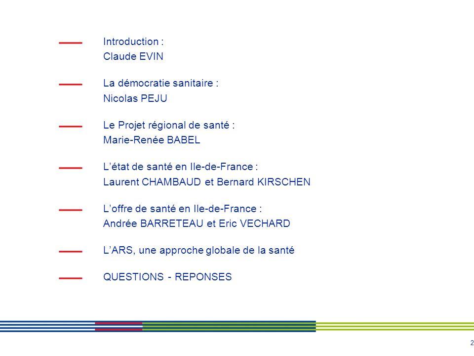 2 Introduction : Claude EVIN La démocratie sanitaire : Nicolas PEJU Le Projet régional de santé : Marie-Renée BABEL Létat de santé en Ile-de-France :