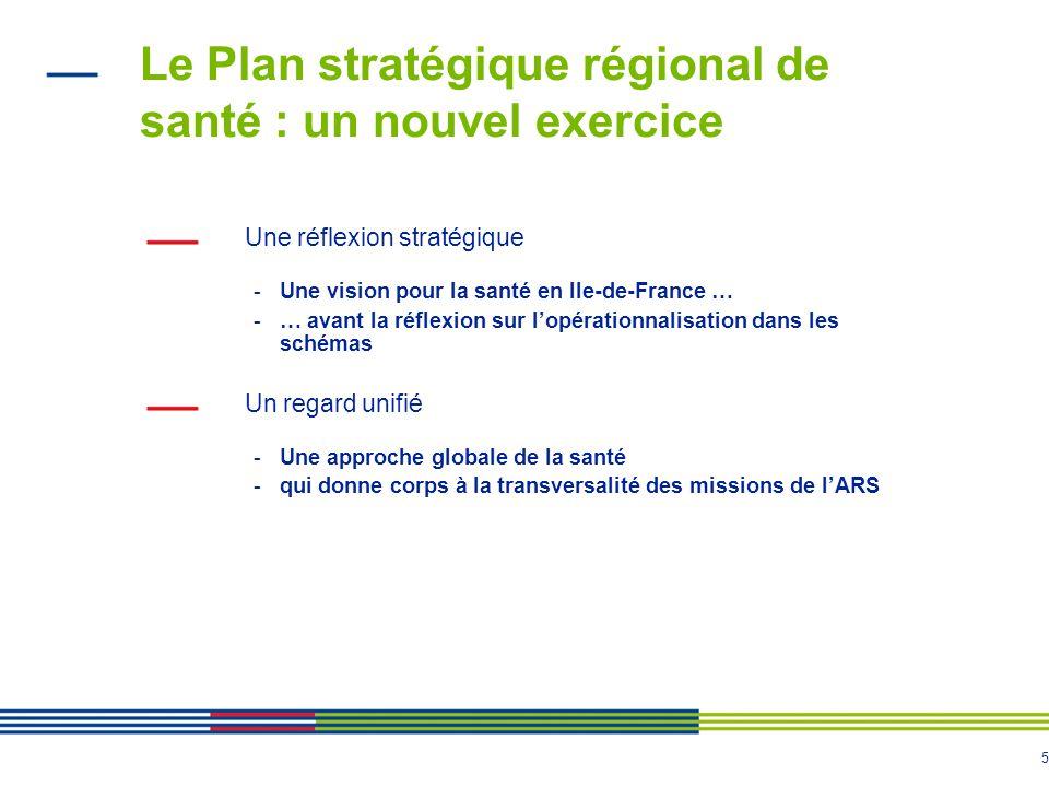 5 Le Plan stratégique régional de santé : un nouvel exercice Une réflexion stratégique -Une vision pour la santé en Ile-de-France … -… avant la réflex