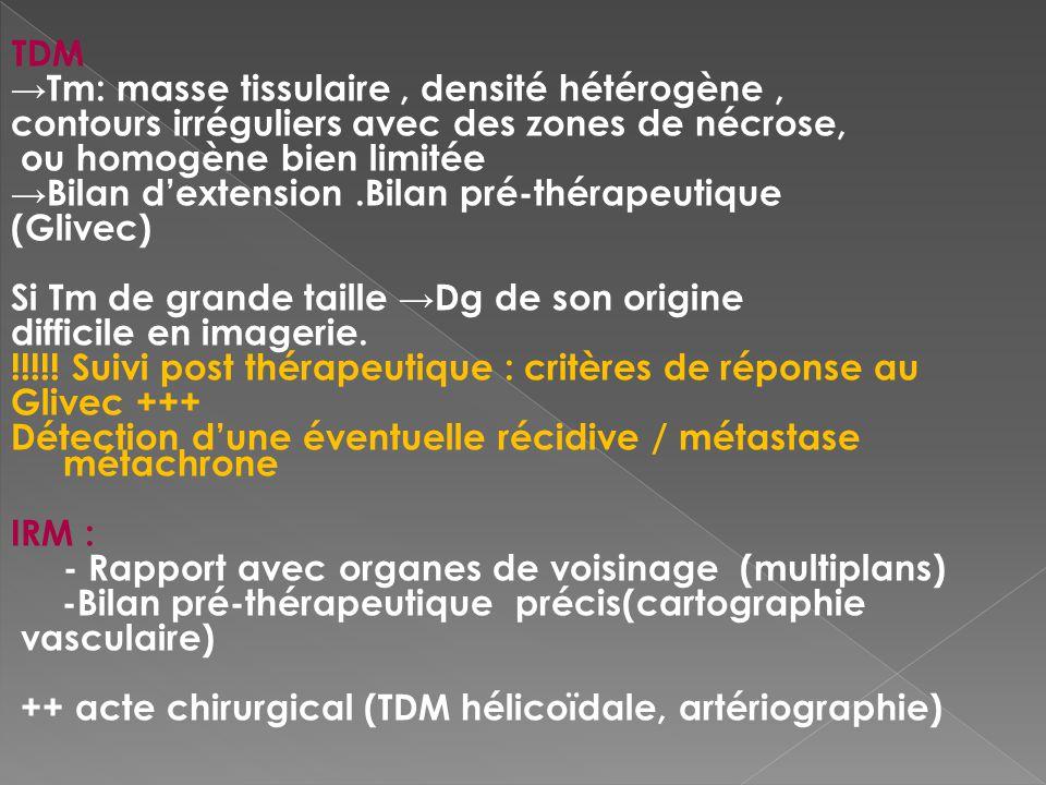TDM Tm: masse tissulaire, densité hétérogène, contours irréguliers avec des zones de nécrose, ou homogène bien limitée Bilan dextension.Bilan pré-thér
