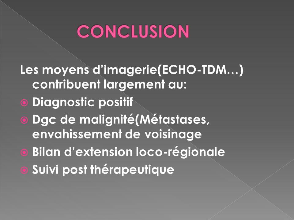 Les moyens dimagerie(ECHO-TDM…) contribuent largement au: Diagnostic positif Dgc de malignité(Métastases, envahissement de voisinage Bilan dextension
