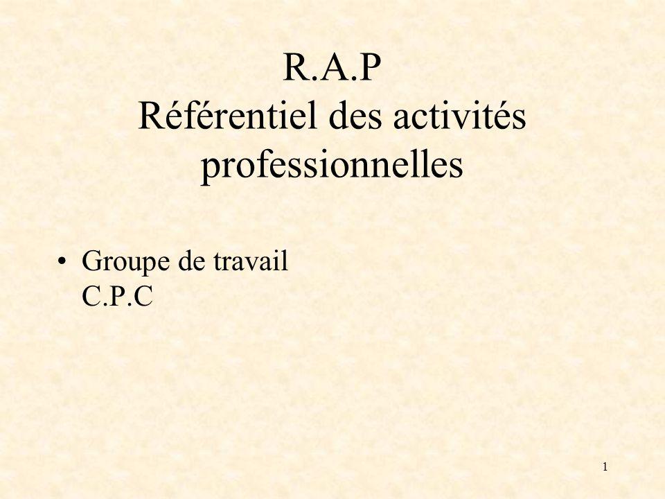 1 R.A.P Référentiel des activités professionnelles Groupe de travail C.P.C
