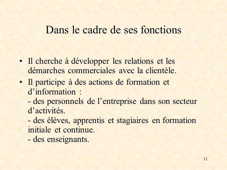 11 Dans le cadre de ses fonctions Il cherche à développer les relations et les démarches commerciales avec la clientèle.