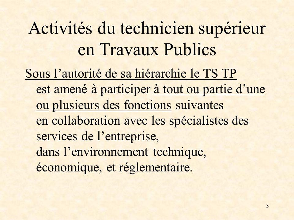 3 Activités du technicien supérieur en Travaux Publics Sous lautorité de sa hiérarchie le TS TP est amené à participer à tout ou partie dune ou plusie