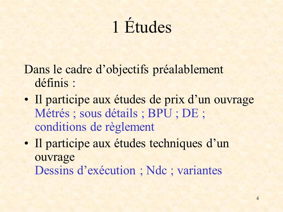 4 1 Études Dans le cadre dobjectifs préalablement définis : Il participe aux études de prix dun ouvrage Métrés ; sous détails ; BPU ; DE ; conditions