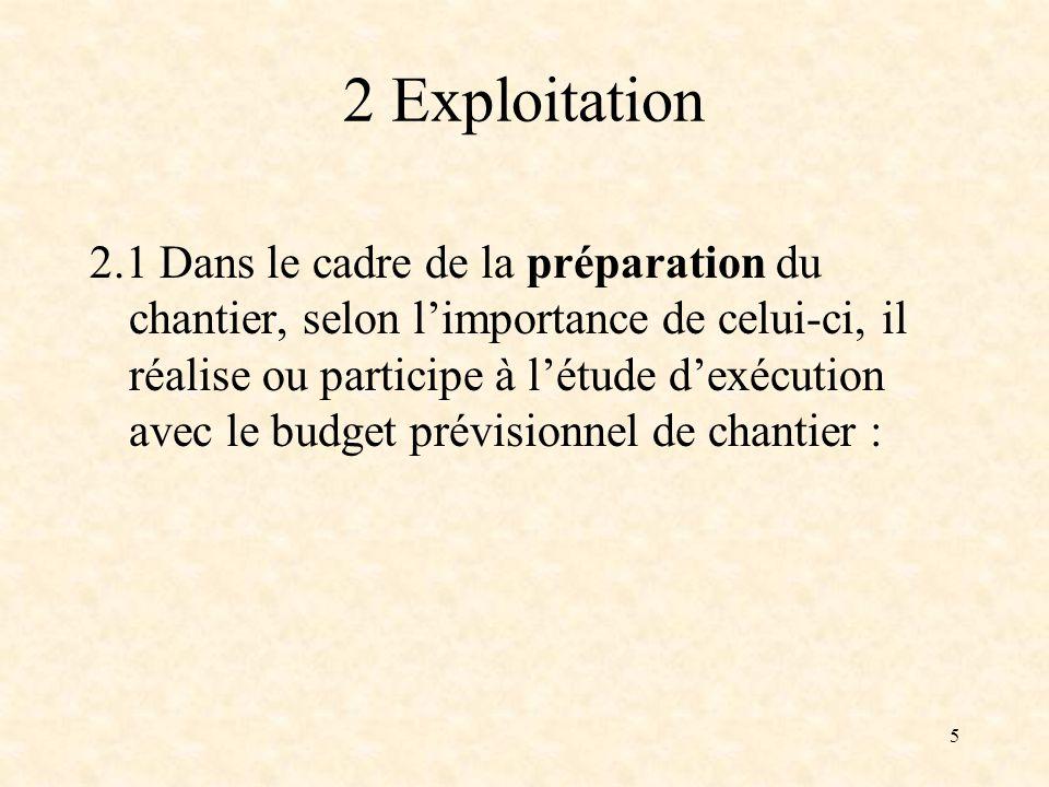 5 2 Exploitation 2.1 Dans le cadre de la préparation du chantier, selon limportance de celui-ci, il réalise ou participe à létude dexécution avec le budget prévisionnel de chantier :