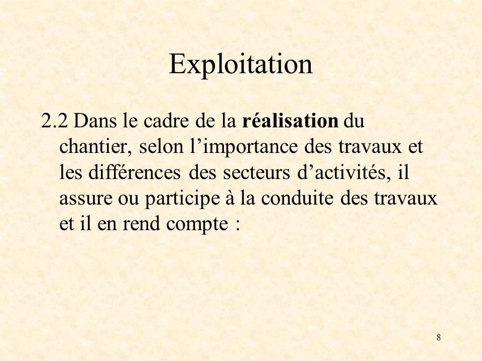 8 Exploitation 2.2 Dans le cadre de la réalisation du chantier, selon limportance des travaux et les différences des secteurs dactivités, il assure ou participe à la conduite des travaux et il en rend compte :