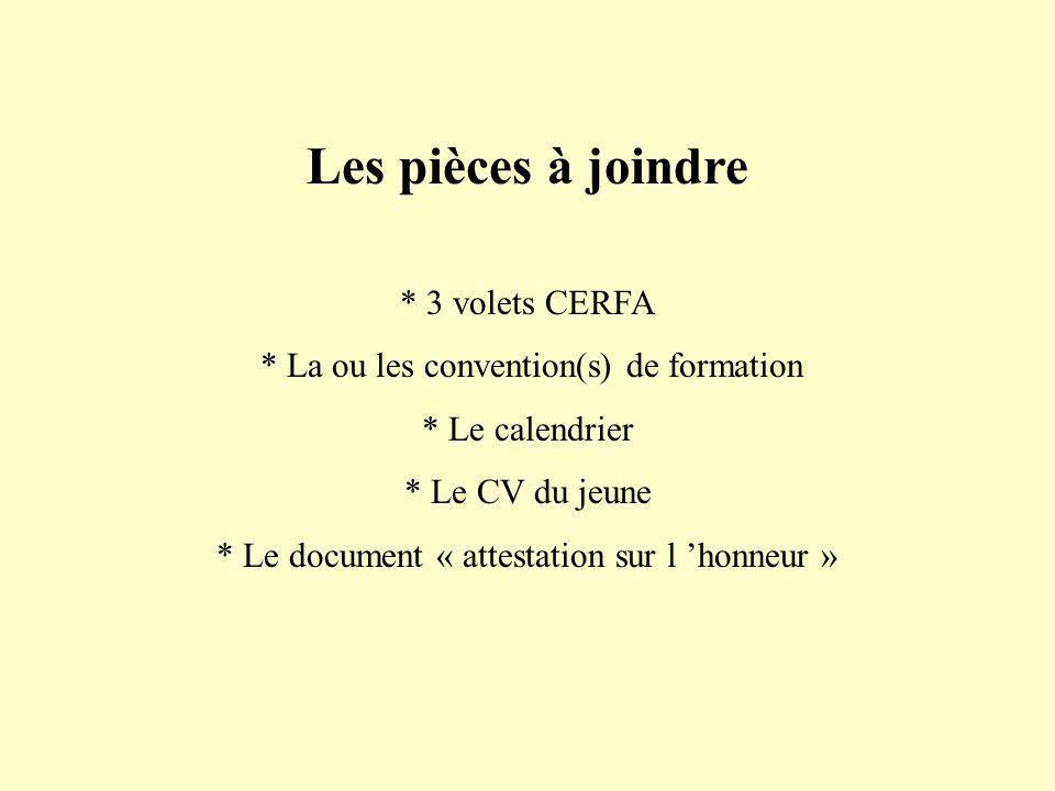 Les pièces à joindre * 3 volets CERFA * La ou les convention(s) de formation * Le calendrier * Le CV du jeune * Le document « attestation sur l honneur »