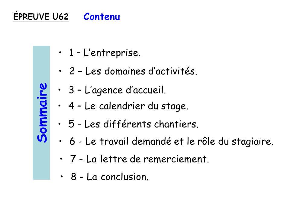 1 – Lentreprise.2 – Les domaines dactivités. 4 – Le calendrier du stage.