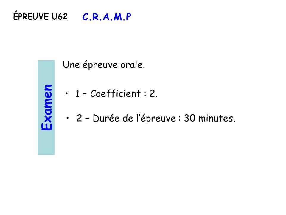 2 – Durée de lépreuve : 30 minutes.1 – Coefficient : 2.