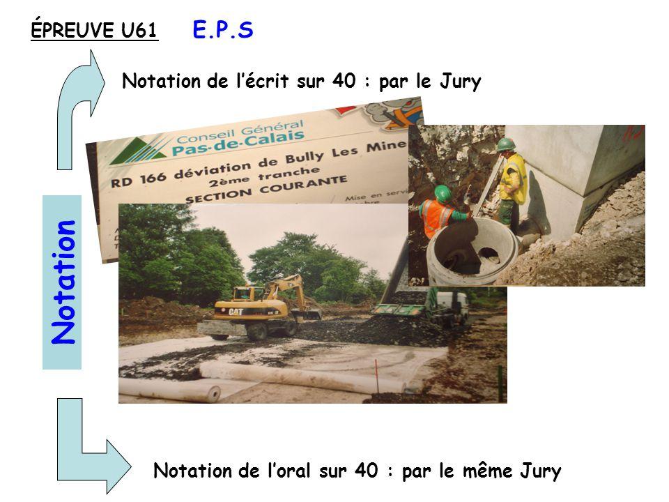 Notation de lécrit sur 40 : par le Jury Notation de loral sur 40 : par le même Jury Notation ÉPREUVE U61 E.P.S