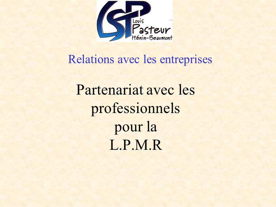 Relations avec les entreprises Partenariat avec les professionnels pour la L.P.M.R