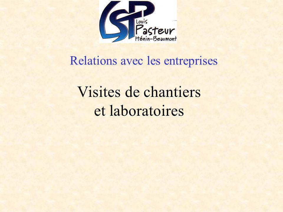 Relations avec les entreprises Visites de chantiers et laboratoires