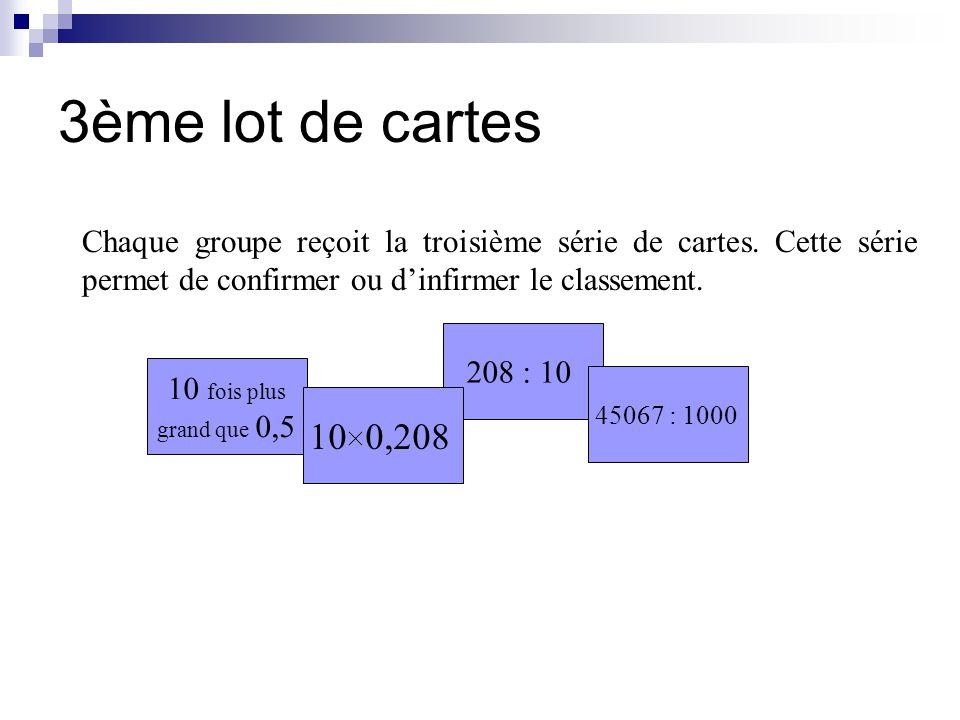 3ème lot de cartes Chaque groupe reçoit la troisième série de cartes.