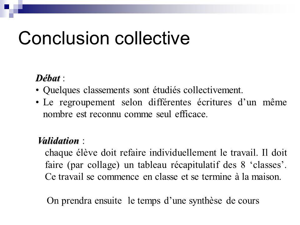 Conclusion collective Débat Débat : Quelques classements sont étudiés collectivement.