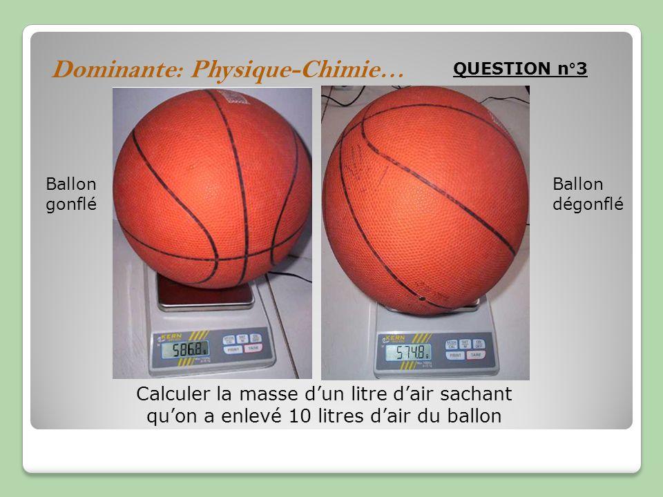 Dominante: Physique-Chimie… QUESTION n°3 Ballon gonflé Ballon dégonflé Calculer la masse dun litre dair sachant quon a enlevé 10 litres dair du ballon