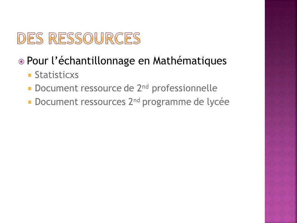 Pour léchantillonnage en Mathématiques Statisticxs Document ressource de 2 nd professionnelle Document ressources 2 nd programme de lycée