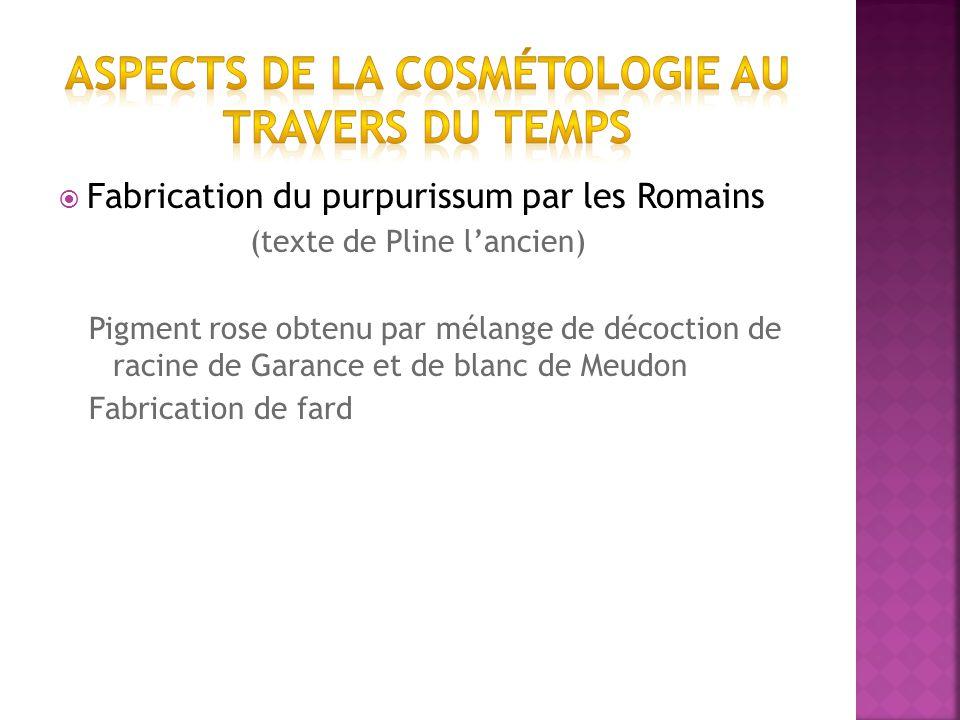 Fabrication du purpurissum par les Romains (texte de Pline lancien) Pigment rose obtenu par mélange de décoction de racine de Garance et de blanc de Meudon Fabrication de fard