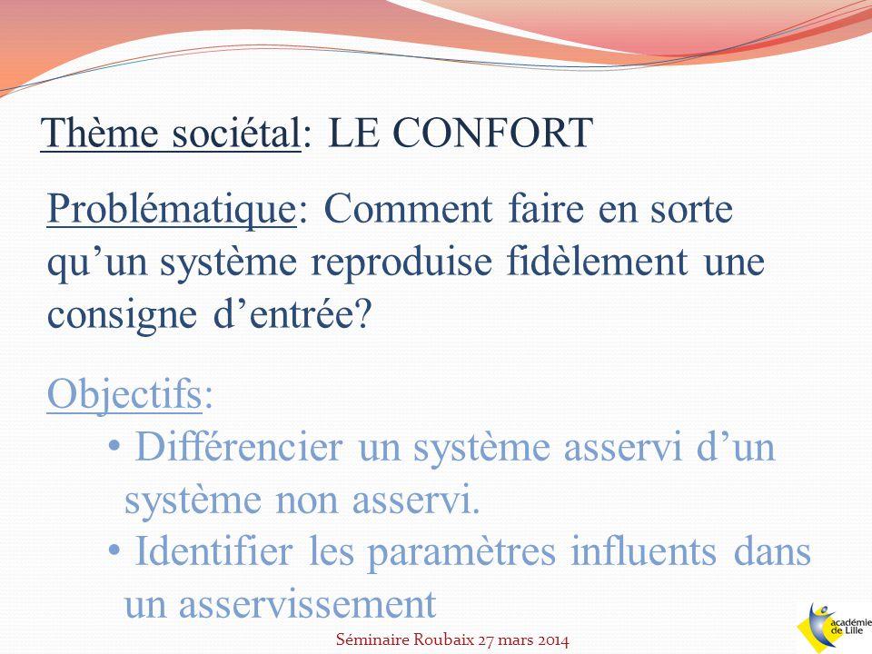 Thème sociétal: LE CONFORT Problématique: Comment faire en sorte quun système reproduise fidèlement une consigne dentrée? Objectifs: Différencier un s