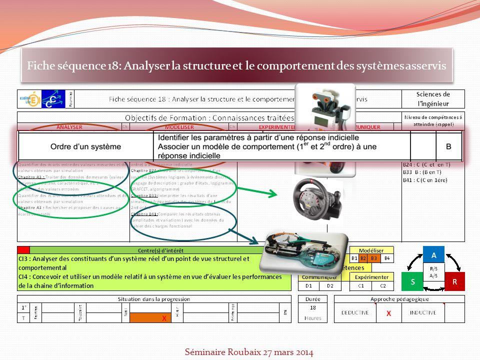 Fiche séquence 18: Analyser la structure et le comportement des systèmes asservis Séminaire Roubaix 27 mars 2014