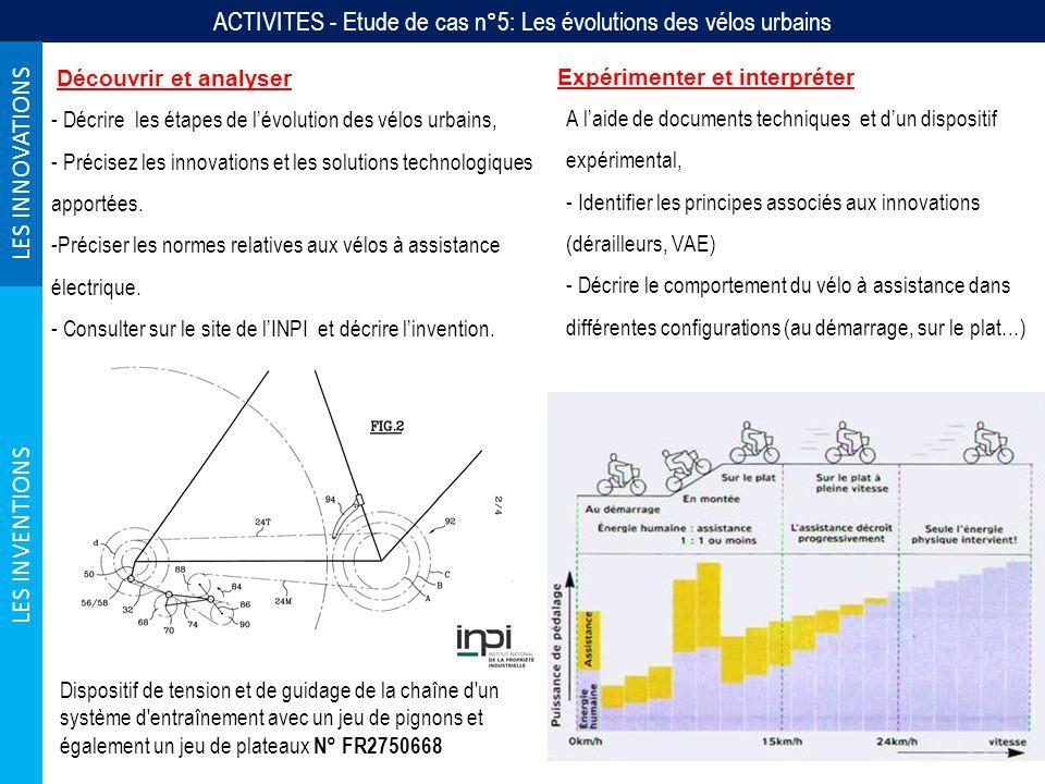 ACTIVITES - Etude de cas n°5: Les évolutions des vélos urbains LES INNOVATIONS LES INVENTIONS Découvrir et analyser - Décrire les étapes de lévolution des vélos urbains, - Précisez les innovations et les solutions technologiques apportées.