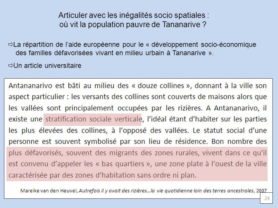 Articuler avec les inégalités socio spatiales : où vit la population pauvre de Tananarive ? La répartition de laide européenne pour le « développement