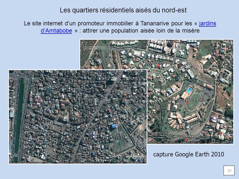 Les quartiers résidentiels aisés du nord-est Le site internet dun promoteur immobilier à Tananarive pour les « jardins dAmtabobe » : attirer une popul