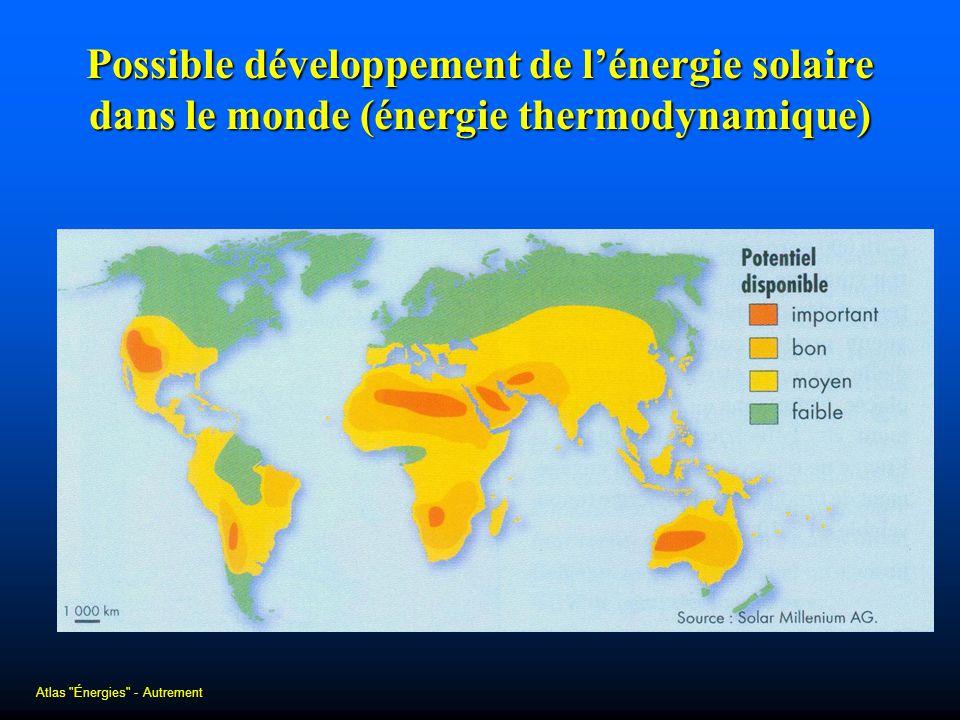 Possible développement de lénergie solaire dans le monde (énergie thermodynamique) Atlas