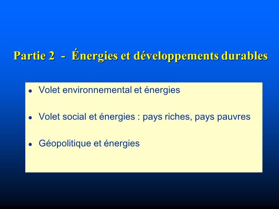 Partie 2 - Énergies et développements durables l Volet environnemental et énergies l Volet social et énergies : pays riches, pays pauvres l Géopolitiq