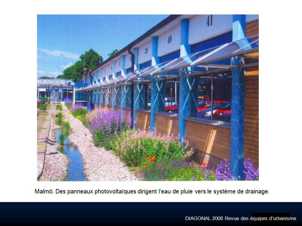 DIAGONAL 2008 Revue des équipes durbanisme Malmö. Des panneaux photovoltaïques dirigent leau de pluie vers le système de drainage.