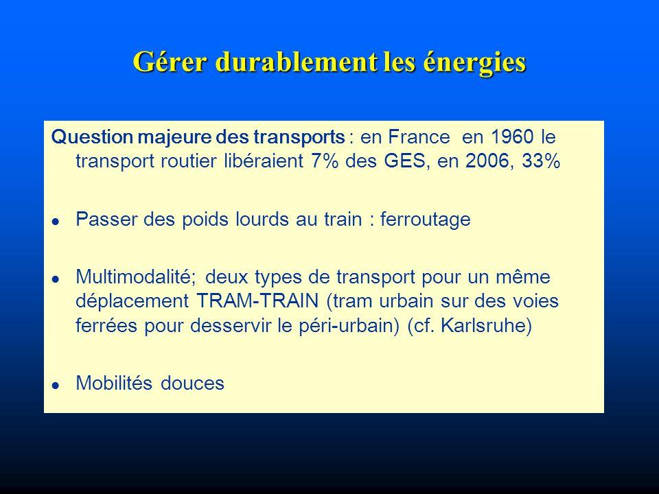 Gérer durablement les énergies Question majeure des transports : en France en 1960 le transport routier libéraient 7% des GES, en 2006, 33% l Passer d