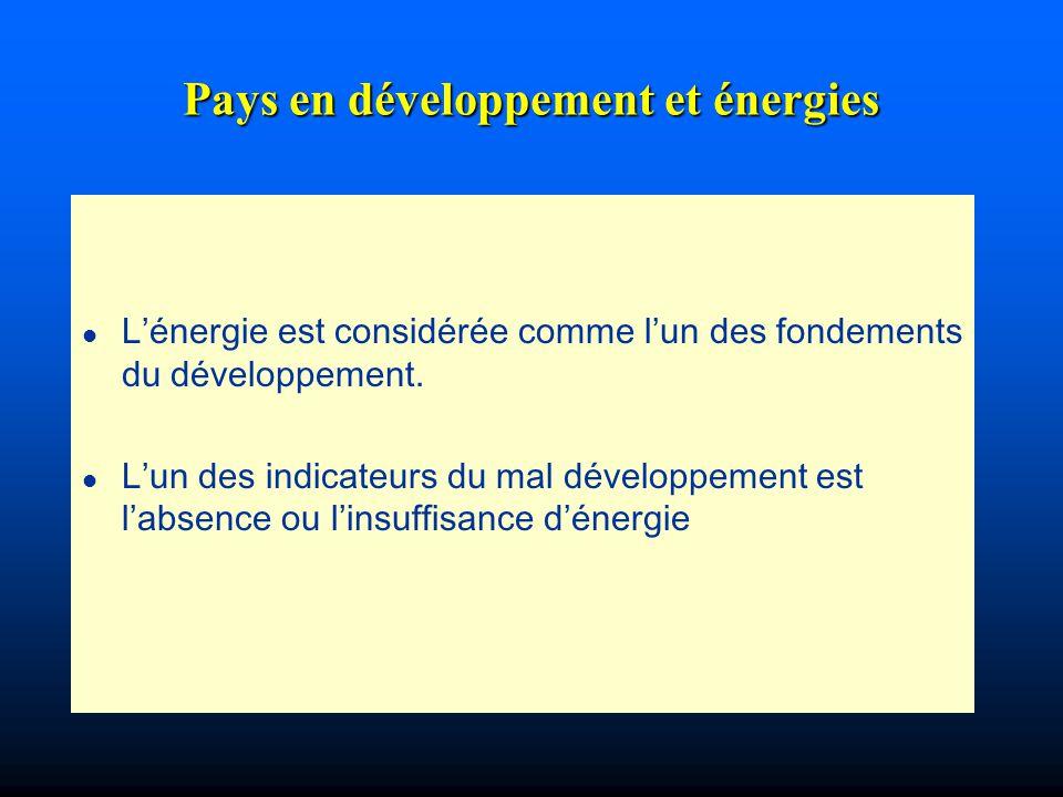 Pays en développement et énergies l Lénergie est considérée comme lun des fondements du développement. l Lun des indicateurs du mal développement est