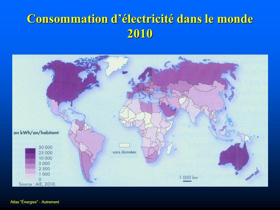 Consommation délectricité dans le monde 2010 Atlas