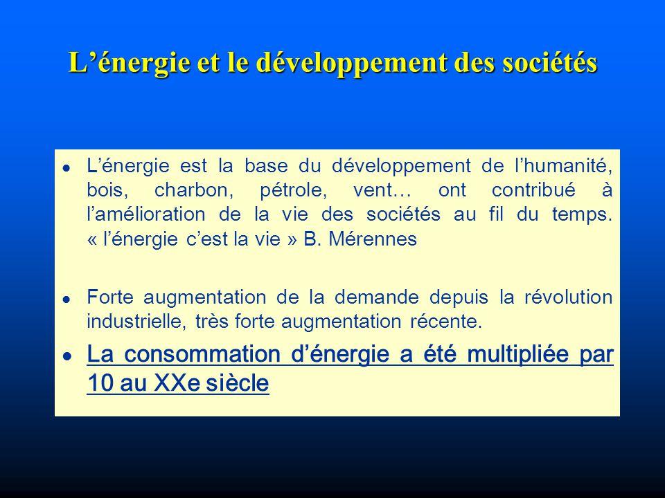 Lénergie et le développement des sociétés l Lénergie est la base du développement de lhumanité, bois, charbon, pétrole, vent… ont contribué à lamélior