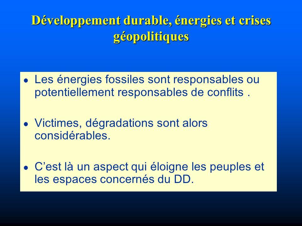 Développement durable, énergies et crises géopolitiques l Les énergies fossiles sont responsables ou potentiellement responsables de conflits. l Victi