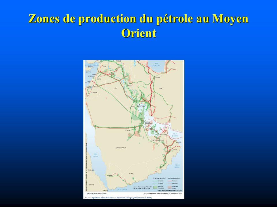 Zones de production du pétrole au Moyen Orient