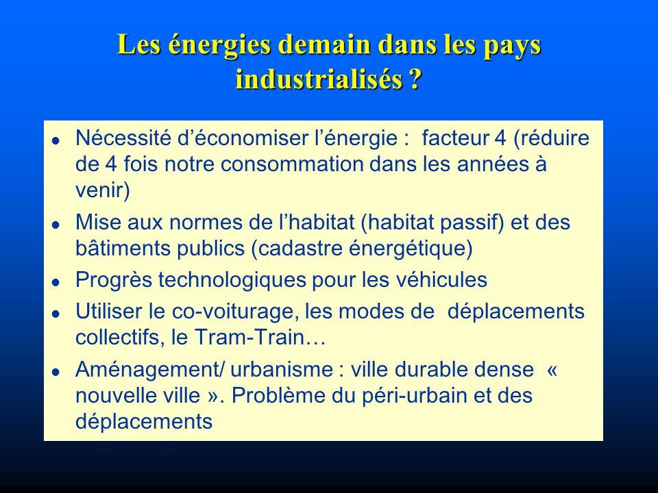 Les énergies demain dans les pays industrialisés ? l Nécessité déconomiser lénergie : facteur 4 (réduire de 4 fois notre consommation dans les années