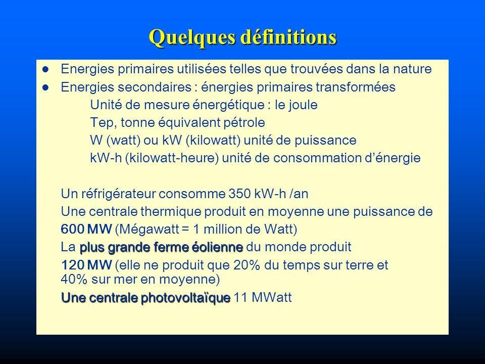 Quelques définitions l Energies primaires utilisées telles que trouvées dans la nature l Energies secondaires : énergies primaires transformées Unité