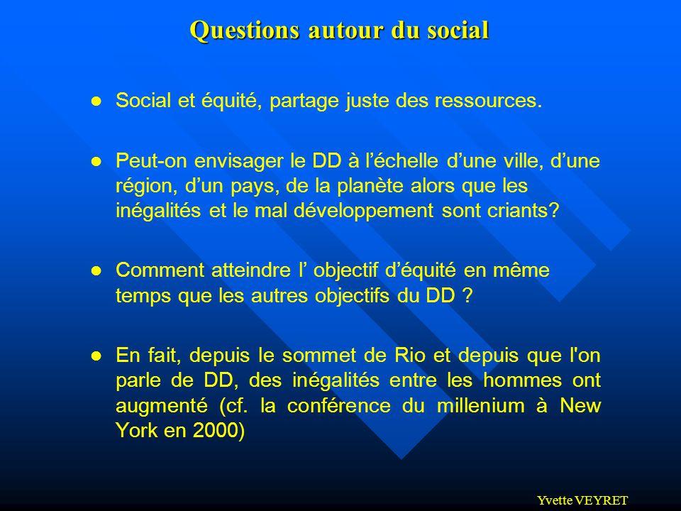 Yvette VEYRET Questions autour du social l Social et équité, partage juste des ressources. l Peut-on envisager le DD à léchelle dune ville, dune régio