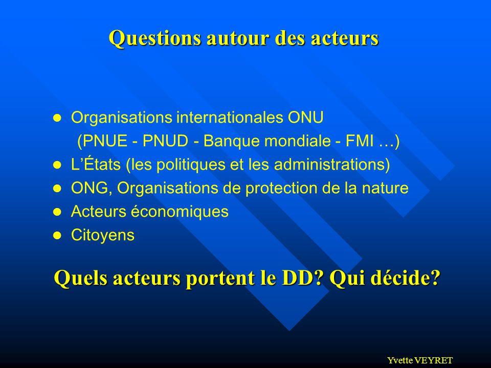 Yvette VEYRET l Organisations internationales ONU (PNUE - PNUD - Banque mondiale - FMI …) l LÉtats (les politiques et les administrations) l ONG, Orga