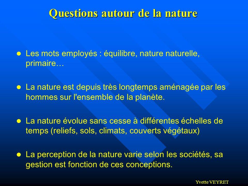 Yvette VEYRET Questions autour de la nature l Les mots employés : équilibre, nature naturelle, primaire… l La nature est depuis très longtemps aménagé