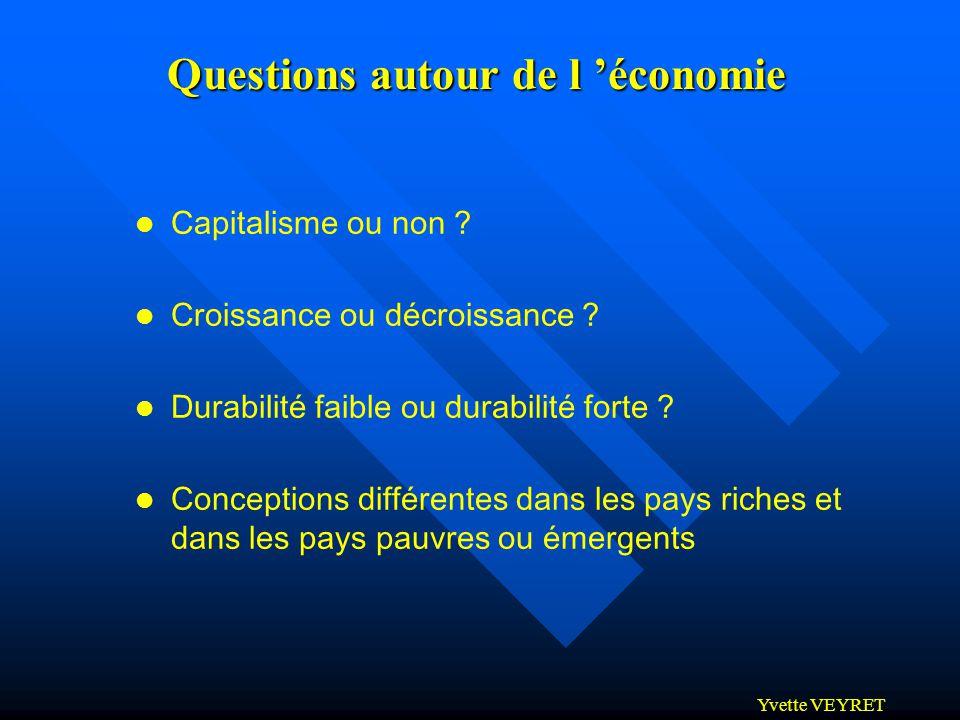 Yvette VEYRET Questions autour de l économie l Capitalisme ou non ? l Croissance ou décroissance ? l Durabilité faible ou durabilité forte ? l Concept