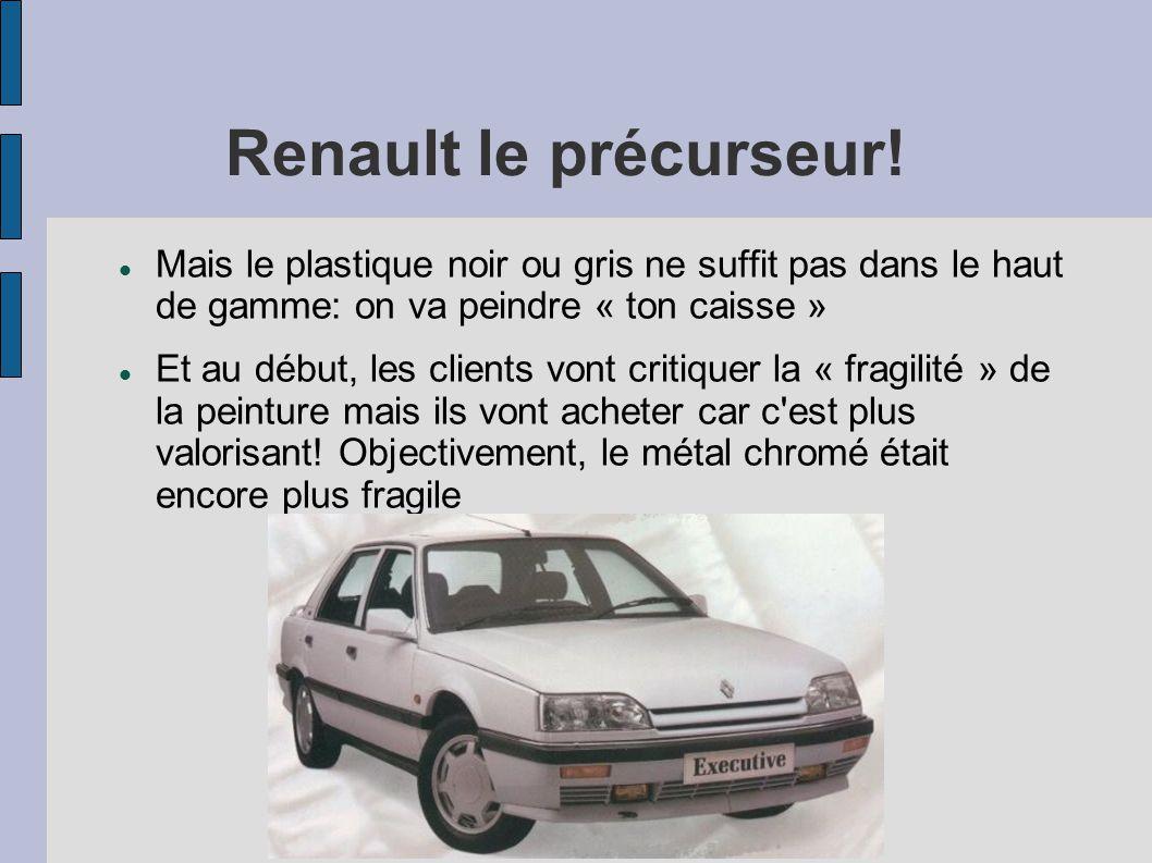 Renault le précurseur! Mais le plastique noir ou gris ne suffit pas dans le haut de gamme: on va peindre « ton caisse » Et au début, les clients vont