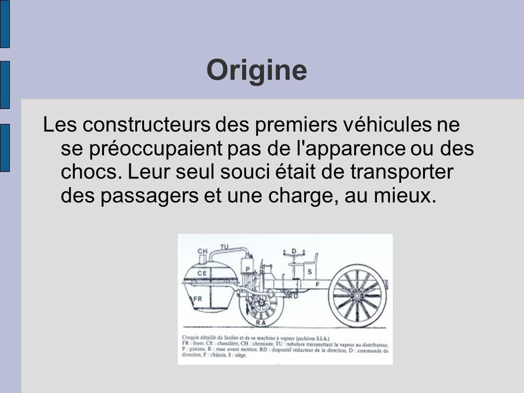 Origine Les constructeurs des premiers véhicules ne se préoccupaient pas de l'apparence ou des chocs. Leur seul souci était de transporter des passage