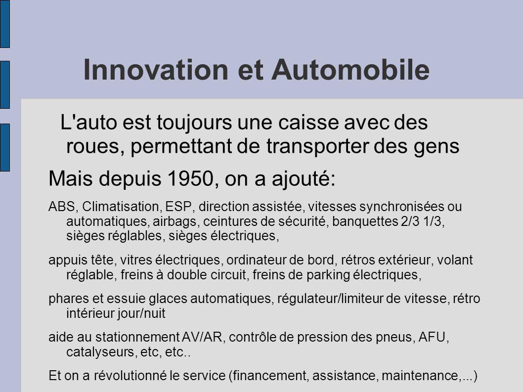 Innovation et Automobile L'auto est toujours une caisse avec des roues, permettant de transporter des gens Mais depuis 1950, on a ajouté: ABS, Climati