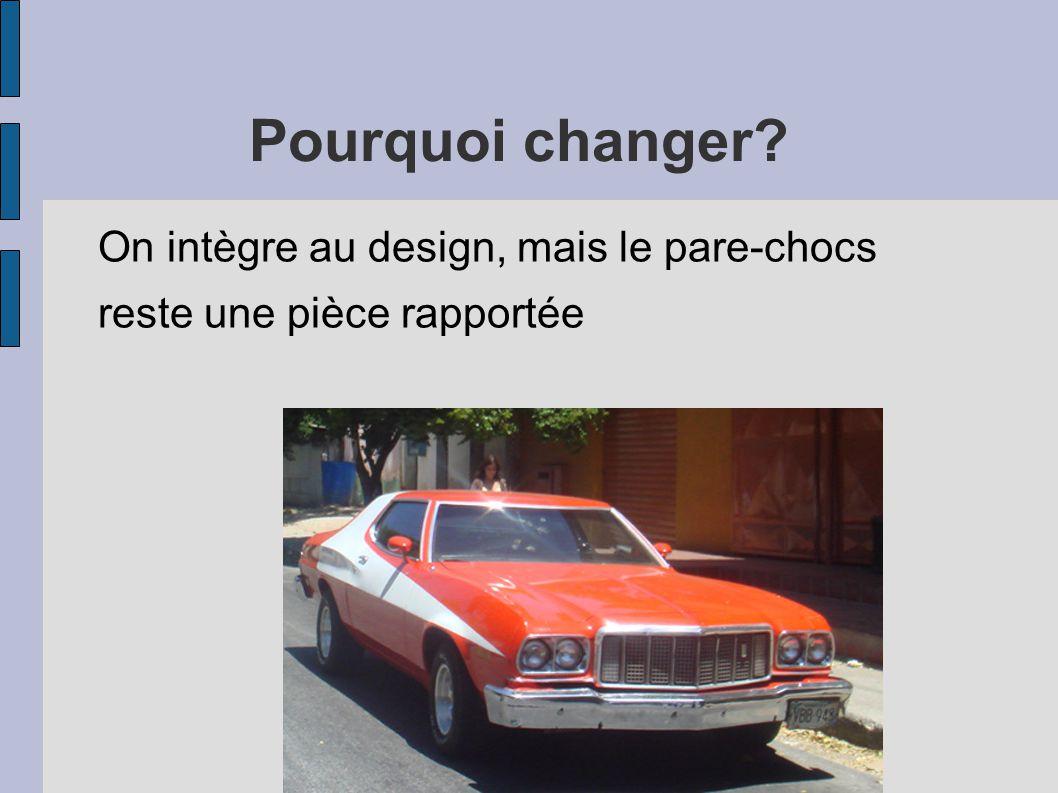 Pourquoi changer? On intègre au design, mais le pare-chocs reste une pièce rapportée