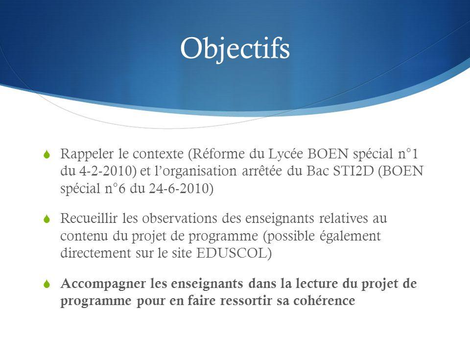 Objectifs Rappeler le contexte (Réforme du Lycée BOEN spécial n°1 du 4-2-2010) et lorganisation arrêtée du Bac STI2D (BOEN spécial n°6 du 24-6-2010) R
